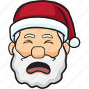 cartoon, christmas, emoji, holiday, santa, smiley icon