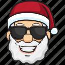 smiley, cartoon, santa, holiday, christmas, emoji