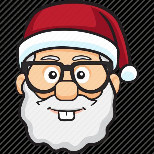 cartoon, christmas, emoji, holiday, santa, smiley icon