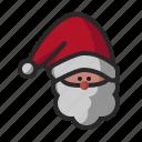 claus, face, head, santa