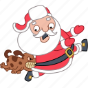 christmas, dog, holiday, new year, run, santa, xmas icon