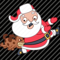 christmas, dog, holiday, new year, run, santa, xmas icon