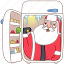 christmas, cold, food, fridge, holiday, santa, xmas icon