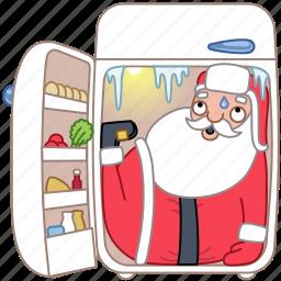 christmas, cold, food, fridge, holiday, santa, xmas icon