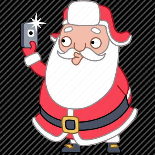 christmas, holiday, phone, photo, santa, selfie, xmas icon