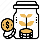 bonus, dividend, interest, investor, jar