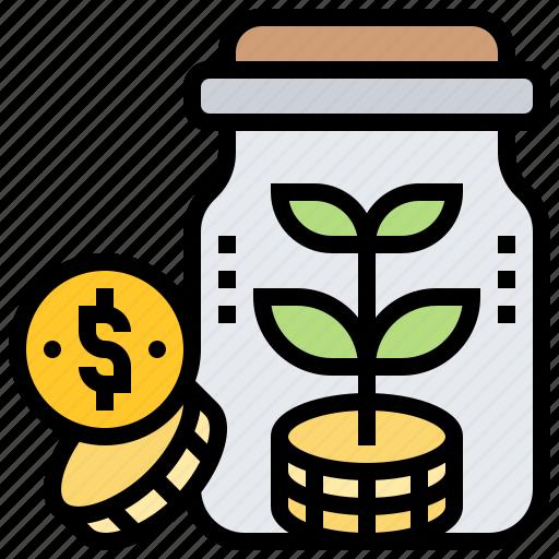 bonus, dividend, interest, investor, jar icon