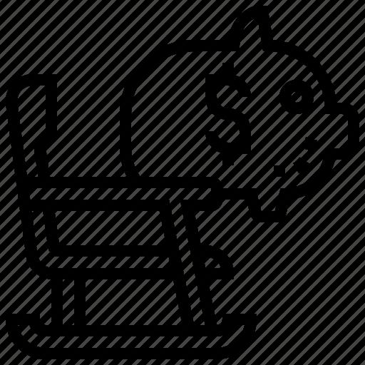 Bank, chair, retirement, rocking, saving icon - Download on Iconfinder