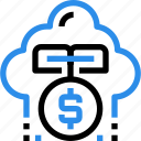 bank, cloud, finance, growth, investment, money icon