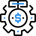 bank, finance, gear, investment, money, process icon