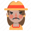 angry, emoji, female, halloween, horror, monster, scarecrow icon
