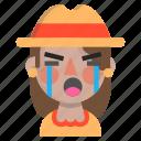 crying, emoji, female, halloween, horror, monster, scarecrow icon
