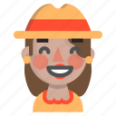 emoji, female, glad, halloween, horror, monster, scarecrow icon