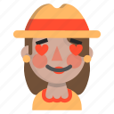 emoji, female, halloween, horror, love, monster, scarecrow icon