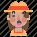 emoji, female, halloween, horror, monster, scarecrow, surprised icon