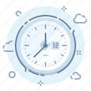 clock, clouds, process, time, work icon