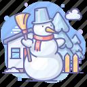 broom, snowman