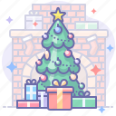 christmas, home, tree icon