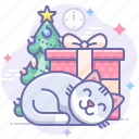 cat, christmas, gift icon
