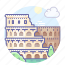 ancient, colosseum, italy, rome icon
