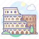 italy, colosseum, rome icon