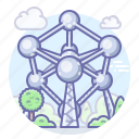 atomium, belgium, brussels icon