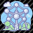atomium, belgium, brussels, molecule icon