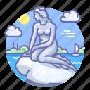 copenhagen, danmark, mermaid, statue icon