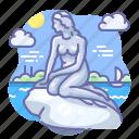 copenhagen, danmark, mermaid icon