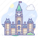 building, canada, parliament icon