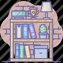 library, books, interior, bookcase