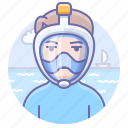 dive, man, mask icon