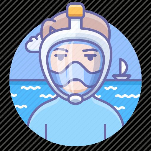 dive, man, mask icon