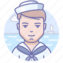 man, navy, sailor icon