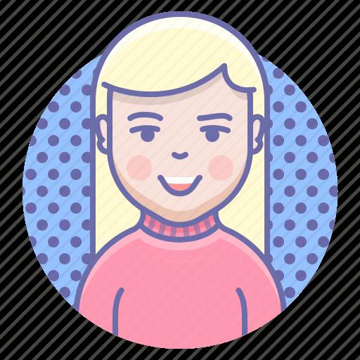 blonde, smile, woman icon