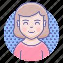 kawai, smile, woman icon
