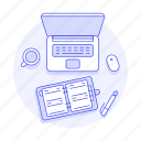 coffee, home, laptop, notebook, office, organizer, study, work, workspace icon