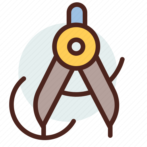 circle, draw, education, learn, measure icon