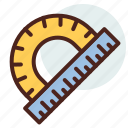 education, learn, measure, protractor, ruller icon