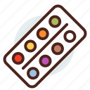 colours, draw, education, learn, paint, water icon