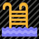 pool ladder, pool stairs, pool steps, swimming pool ladder, pool staircase icon
