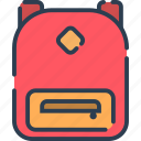 backpack, bag, baggage, school, travel icon