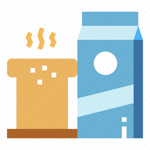 Bread, breakfast, food, milk icon - Download on Iconfinder
