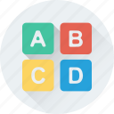 abc, alphabet blocks, alphabets, primary, study icon