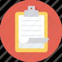 clipboard, memo, notes, sheet, text