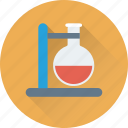 conical flask, flask, flask stand, lab experiment, research icon