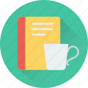 book, cup, take a break, tea, tea break icon