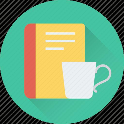 book, cup, take a break, tea, tea break icon