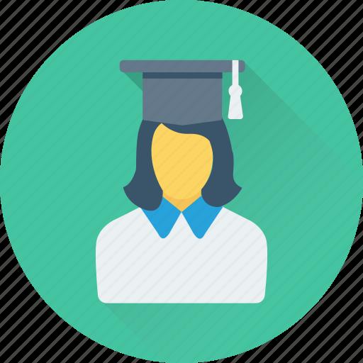 female, graduate, pupil, scholar, student icon