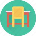 chair, desk, seat, study desk, table icon